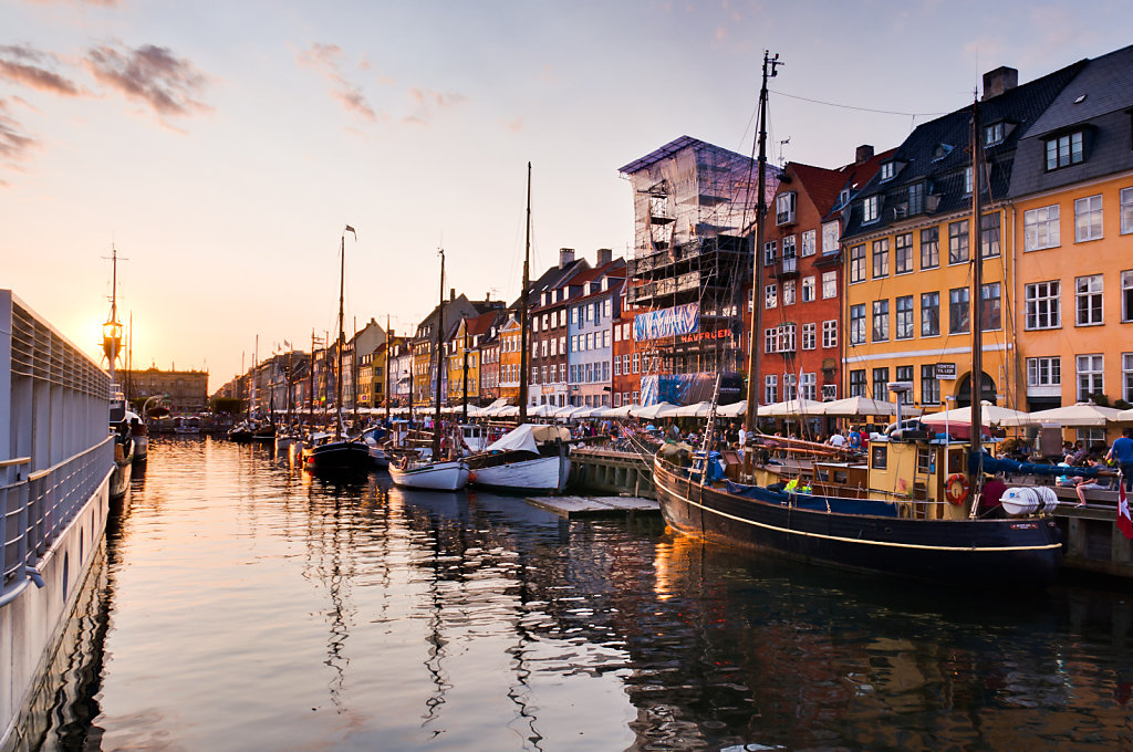 Sunset at Nyhavn in Copenhagen, Denmark