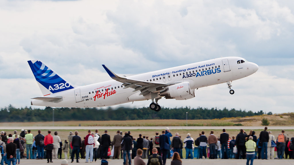 A320 Enhanced (A320E) prototype (F-WWIQ) with sharklets at ILA Berlin Air Show 2012.