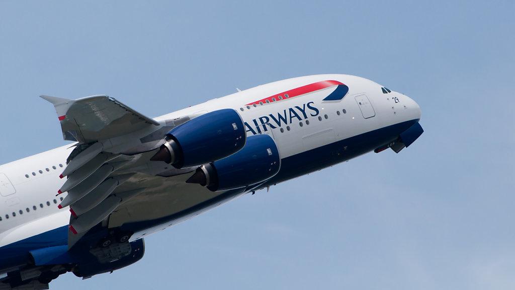 British Airways Airbus A380 flying at Paris Air Show 2013.