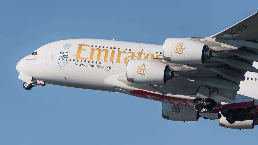 Emirates Airbus A380-861 (reg. A6-EER, msn 139) at Munich Airport (IATA: MUC; ICAO: EDDM) departing 26L.