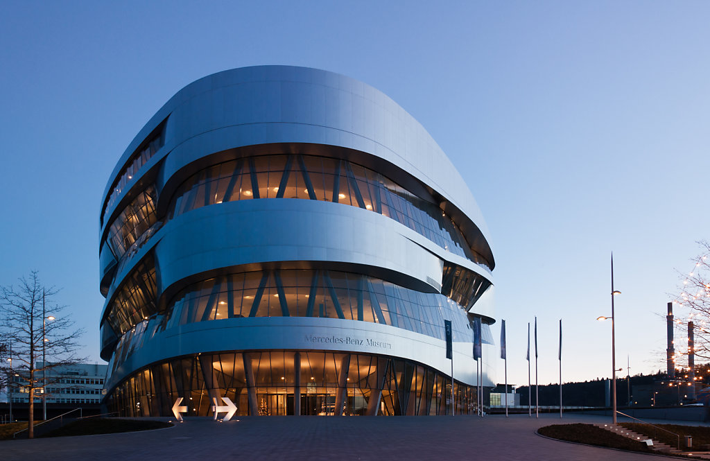 Mercedes-Benz Museum Stuttgart in the evening