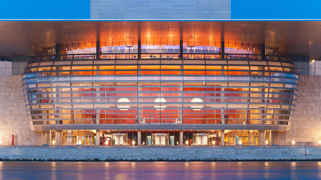 Front view of the Copenhagen Opera House (Operaen) in Copenhagen Holmen, Denmark.